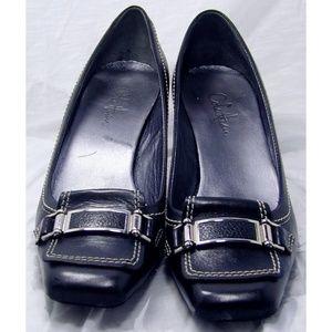 Cole Haan black buckle kitten heels